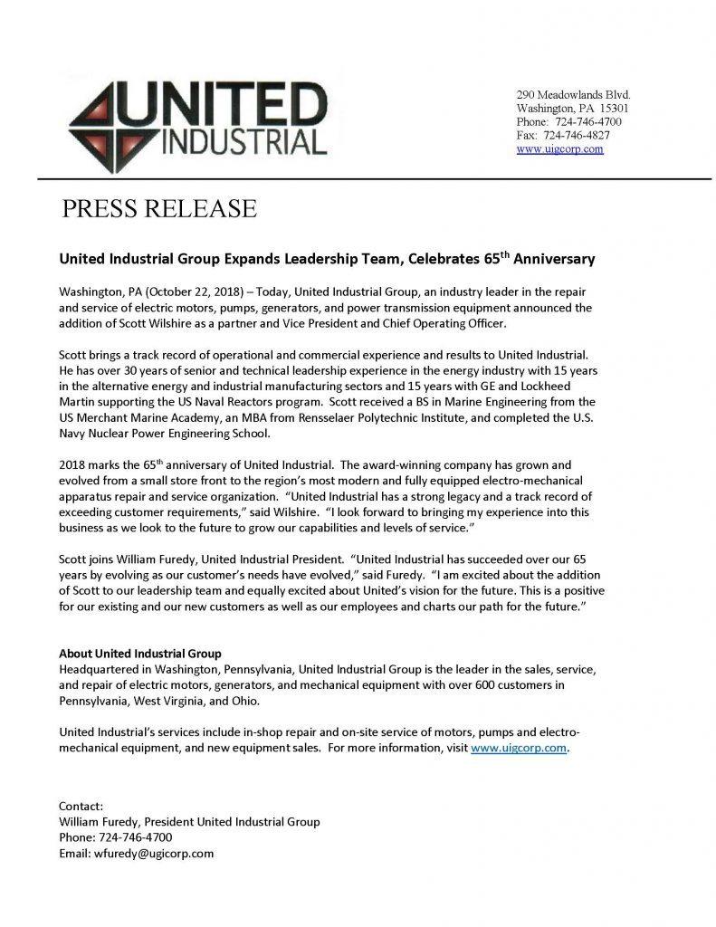 United Industrial Mechanical Service Repair Electromechanical Pittsburgh